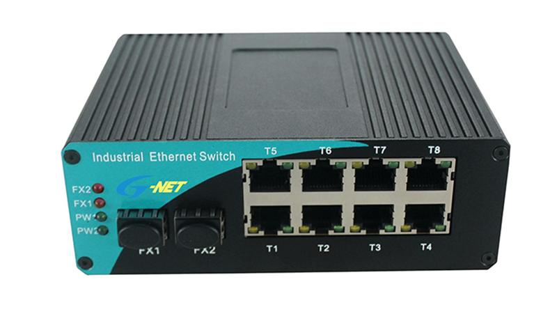 10/100/1000M Industrial Switch. 2 fiber port + 8 RJ45 port